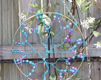 Suncatcher, Tree of Life Sun Catcher, Pink Blue Galaxy Beads, Large Whimsical Decor, Garden Art, Handmade Forest Wall Art, Mother's Day Gift
