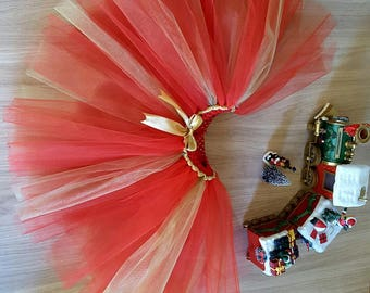 """Sparkly skirt """"Ruby"""" 4-6 years, red, bronze and gold special party"""