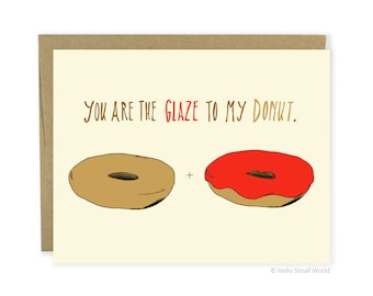 Funny Love Card, Anniversary Card, Food Love Card, Donut Love Card, Donut Card, Boyfriend, Girlfriend, Husband, Wife, Friend Card, Foodie