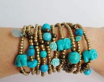 10 Friendship Bracelets - Boho Chic Layering Golden Summer Bracelets - blue rose - elephant - layered bracelets - stacking - bracelet set