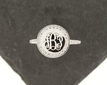 925 Sterling Silver CZ Monogram Ring, Single Ring, Monogram Ring, Sterling Silver