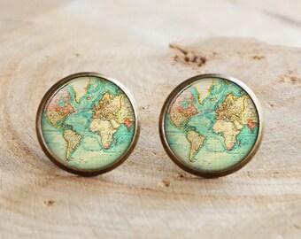 Old map stud earrings, World map earrings,Antique travel earrings, Map earrings, Antique map jewelry,