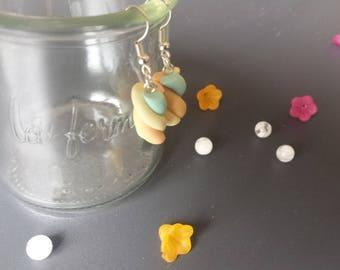 Yellow, orange and blue Marshmallow earrings