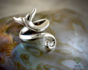 Silver Ring Whale Tail, Adjustable Whale Tail Ring, Open Silver Ring, Handmadet Ring, Sea Jewelry, Unisex Jewelry, Bridal gift