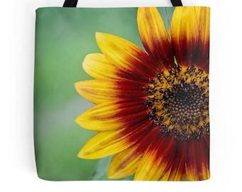 Sunflower tote bag, flower bag, printed tote bag, flower tote, sunflower print, gift for mom, gift for grandma, sunflower printed bag, tote