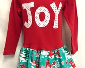 Girls Red Joy Christmas Dress -Applique Holiday Dress w...