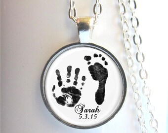 Footprint Necklace, Handprint Necklace, Mother's Necklace, Baby Handprint Jewelry
