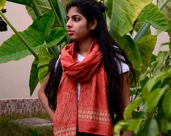 Red Scarf, coral scarf, pink scarf cotton silk scarf, hand dyed scarf, block printed scarf, gifts for women, anniversary gift Bohemian- PARI