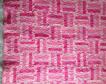 """Special 59.00   Pink Ribbon Lap quilt, wall hanging, rail fence quilt, 45""""x45"""""""