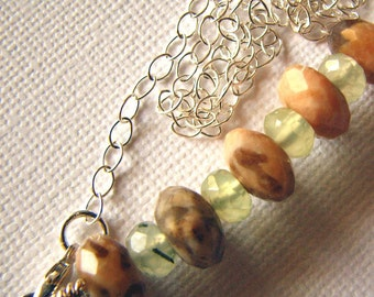 Salt and Pepper, sterling silver, green quartz, feldspar necklace.