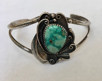vintage sterling and turquoise cuff bracelet