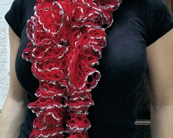 Bright and festive red and silver ruffle scarf!