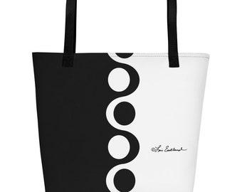 Black And White Mod Style Retro Print Beach Bag