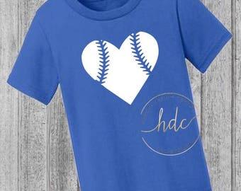 Toddler Baseball Tee/Unisex Baseball Tee/Baseball Heart/Boys and Girls Baseball Tee Shirt