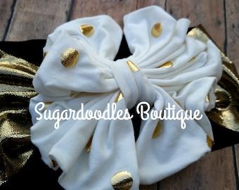 Gold Polka Dot Messy Bow Headband Cream And Gold
