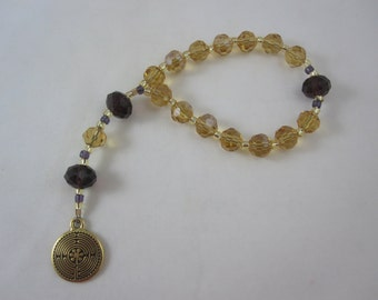 Amber and Purple Chinese Crystal Prayer Chaplet with Labyrinth Charm