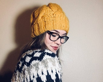 Mustard Yellow Slouchy Beanie// Handmade, classic winter hat, free shipping to the US, 100% wool