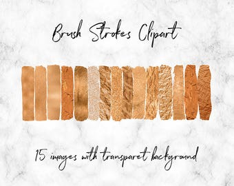 Copper Brush Strokes Clipart, Copper Glitter And Foil Elements, Copper Paint Overlays, 15 PNG Brushes With Transparent Background, BUY3FOR6