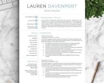 Modern Resume Template for Word and Pages / Creative, Modern Resume Design | Modern CV Template for Word | Instant Download Resume Template