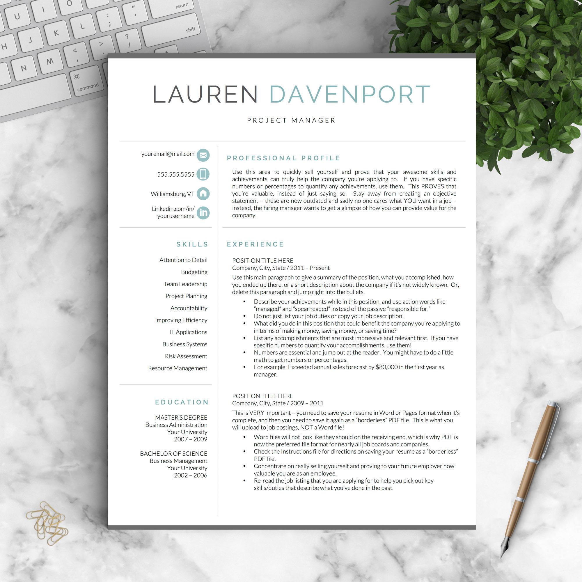 Moderne Lebenslauf Vorlage für Word und Seiten / kreative