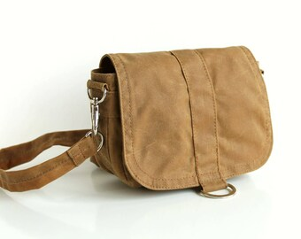 Waxed canvas hip bag, waxed canvas pouch, gold shoulder bag, waxed bag, small crossbody bag - The Sand Saddle Purse