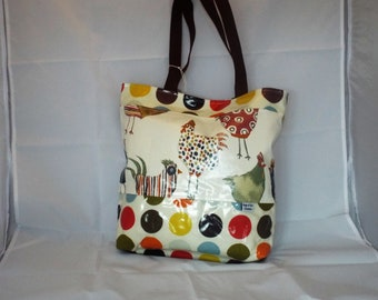 Chickens Oilcloth Tote Bag. oilcloth tote bag, chicken bag, shopping bag, top handle bag, tote bag, chickens 0324