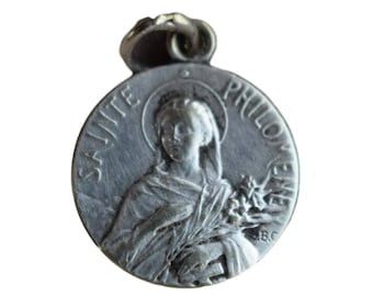 Cure D'Ars and Saint Philomena Medal - French Vintage Religious Pendant Medal Charm - Catholic Christian Necklace