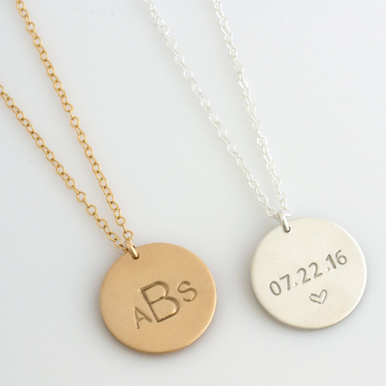 Monogram disc necklace personalized monogram disc zoom mozeypictures Choice Image