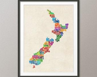 New Zealand Typography Text Map, Art Print (1478)
