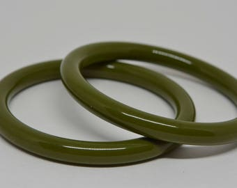 Pair olive Green Color Plastic Bangle Bracelets
