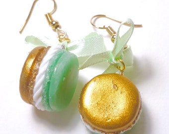 Two-tone green and gold button earrings - pink polymerclay