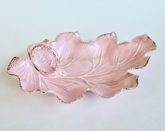Vintage 1950s Pink and Gold California Pottery Leaf Shaped Candy Dish! Cute!