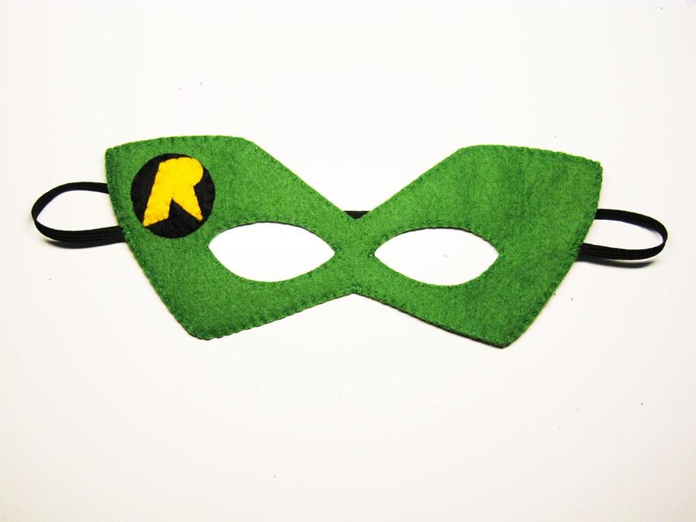 Robin superhero felt mask 2 years adult size Green