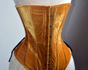 Historical velvet corset: Edwardian overbust corset. Steelbone custom made corset, renaissance, gothic, steampunk, bespoke, victorian