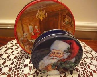 Two Christmas Tins/Both Made in the USA/Vintage Tins/Christmas Tins/Christmas Cookie Tins/Vintage Christmas/Boxes and Bins/Tins/Holiday