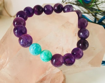 Amethyst and Amazonite Bracelet