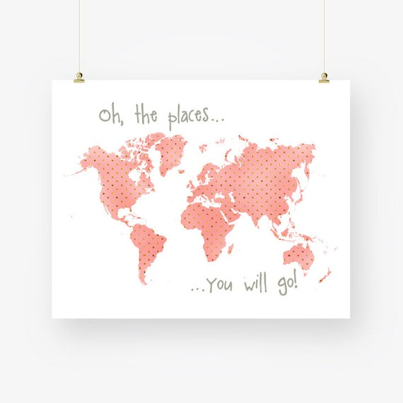 Coral nursery world map print download peach and gold polka gumiabroncs Image collections