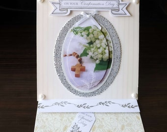 Confirmation Card - 3D Easel Style -  luxury personalised unique quality special custom UK - Male/Female