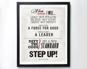 STEP UP! Tony Robbins motivatinal poster - Typography art print on canvas, photo print
