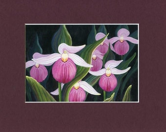 Pink Lady Slippers Print - Botanical Art Print - Nature Painting - Orchid Art Work - Floral Art Print - Floral Home Decor - Archival Print
