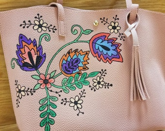 Hand Painted Leather Purse