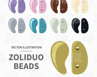 Vector Clip-art of Two-hole Zoliduo Beads for Beading Diagrams - Instant Download