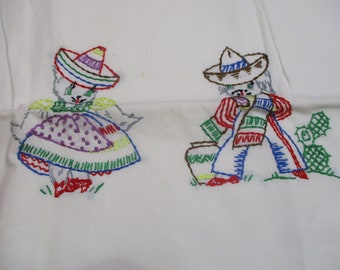 Vintage Embroidered Pillowcase Single-Mexican Kittens-Cottage Chic