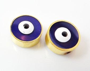 2 Large Navy Blue Lucky Enamel Evil Eye - 22k Matte Gold Plated Bead Spacers