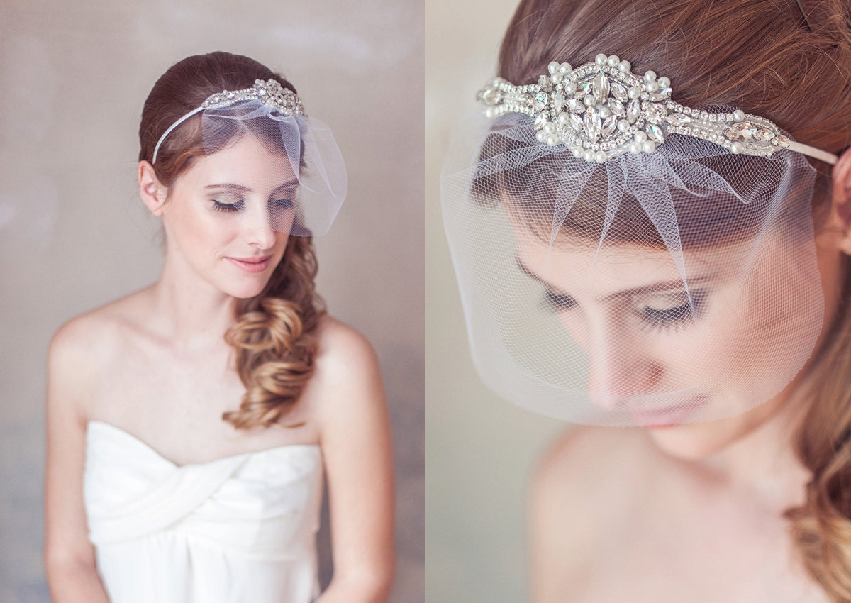wedding veil headband, art deco crystal pearl great gatsby headband