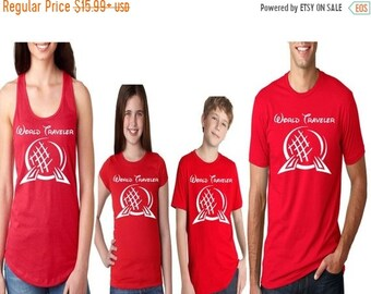 CLEARANCE Family Disney Shirts -  World Traveler Epcot Disney World Matching Red Shirts for the Whole Family Perfect for Disney World Vacati