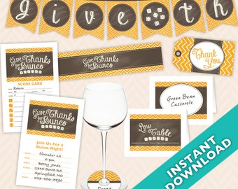 Instant Download Printable Thanksgiving and Bunco Decoration Set (a.k.a. Bunko, score card, score sheet)