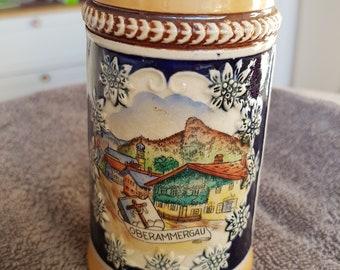Beer Stein, Oberammergau.Germany, Hand painted