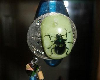 Pour papa pendentif Steampunk - bouteille bleue, bug éclairé, plaque de montre de poche sorcières de Etsy, paganteam, FunkyAlternativeJewelry, GTGEU