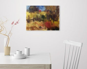 Impressionist rural landscape painting, woodlands and fields   Russ Potak Artist